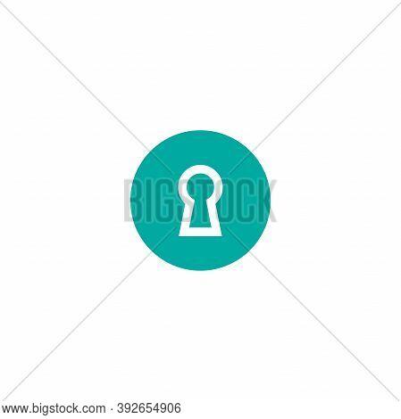 Line Hey Hole In Blue Circle. Line Icon. Padlock, Lock Symbol Isolated On White.