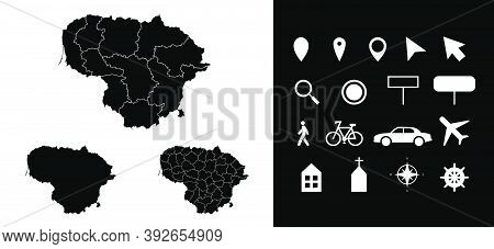 Map Of Lithuania Administrative Regions Departments With Icons. Map Location Pin, Arrow, Looking Gla