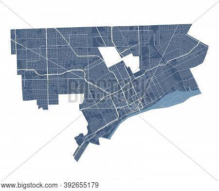 Detroit Map. Detailed Vector Map Of Detroit City Administrative Area. Cityscape Poster Metropolitan