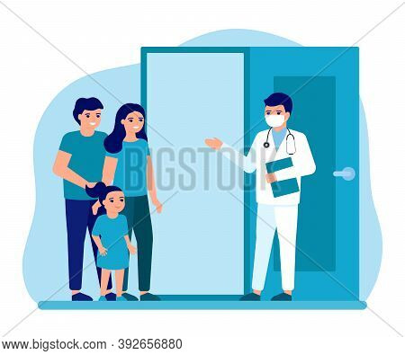 Consultation Of Family With Child At Entrance To Office Doctor. Advice Doctor, Supervision Family, F