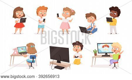Kids Using Gadgets. Tablet Pc Smartphone Laptop For Children Education Processes Future Technology D