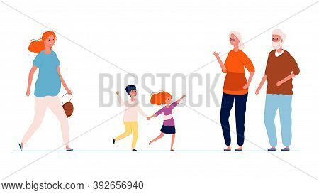 Grandparents And Grandchildren. Old People Meeting Boy And Girl And Their Mom. Pregnant Woman With K