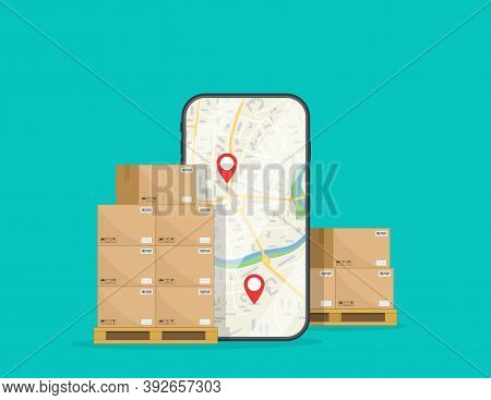 Delivery Of Box. Logistic Of Cargo On Mobile. Package In Carton Boxes Good On Warehouse With Order I