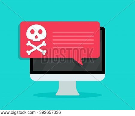 Virus In Computer Screen. Icon Of Malware And Scam. Alert Of Email Spam. Attack Of Ransomware, Inter