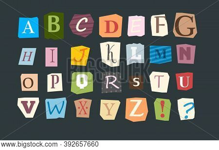Collage Alphabet. Sliced Letters Various Funny Style Font For Flyer Or Anonymous Notes Vector Colore