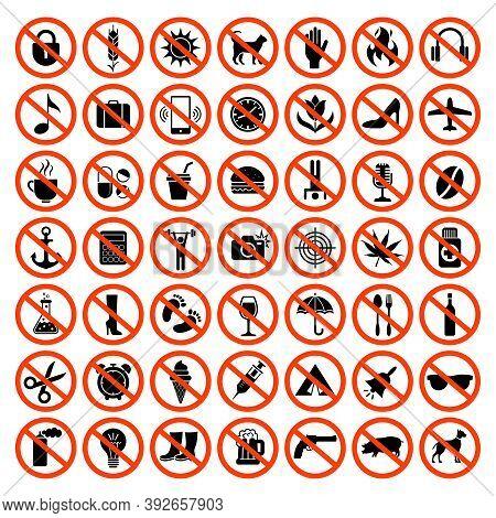 Forbidden Icons. Prohibiting Red Symbols No Motorcycle Animals Guns Sound Phones Parking Car Vector
