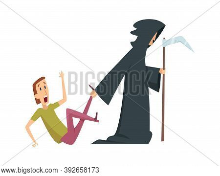 Man Afraid. Death And Male Character, Panic Attack Or Mental Disorder. Halloween Joke, Isolated Pani