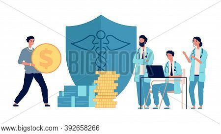 Healthcare Investment. Man Holding Money, Doctors Get Grants. Medicine Profit, Volunteer Donation To