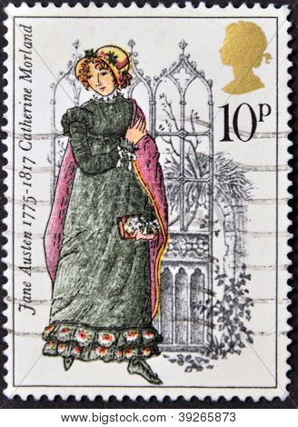 UNITED KINGDOM - CIRCA 1975: A stamp printed in United Kingdom shows Catherine Morland by Jane Auste