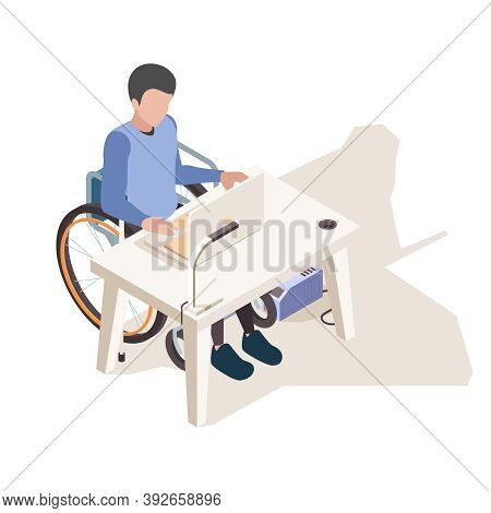 Disabled At Desk. Person Home Handicapped Computer Work And Sitting In Wheelchair Vector Isometric C