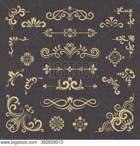 Vintage Ornament. Borders Dividers Ornate Victorian Style Floral Wedding Cornice Vector Typography S