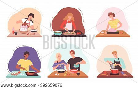 Preparing Food. Characters Cooking In Kitchen Happy People Baked Professional Or Family Chef Vector