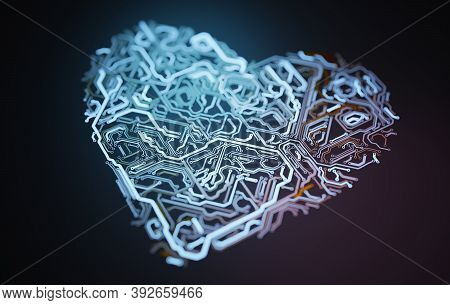 Heart Shaped Electronic Circuit. 3d Rendered Illustration.