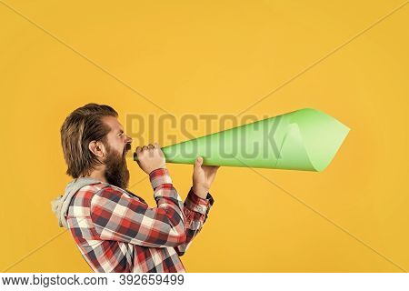 Bearded Man Shout In Megaphone. Man With Paper Loudspeaker. Freedom Of Speech. Ads For Everyone. Pro