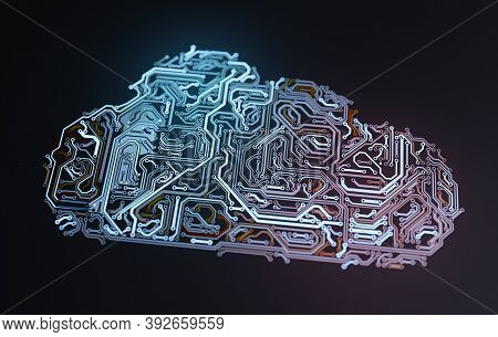 Electronic Circuit In Shape Of Cloud. Network And Storage Concept. 3d Rendered Illustration.