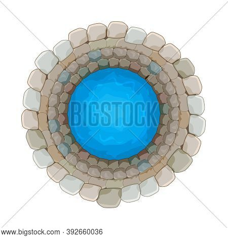 Water Well Of Brick Isolated On White Background. Top Down View On Well Full Of Water Over. Artesian