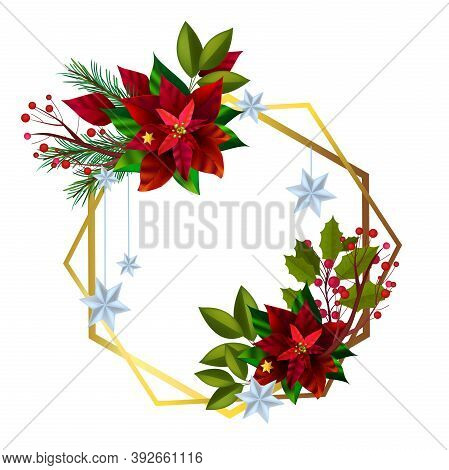 Christmas Vector Holiday Wreath With Poinsettia Red Leaves, Fir Branches, Berries. X-mas Winter Seas