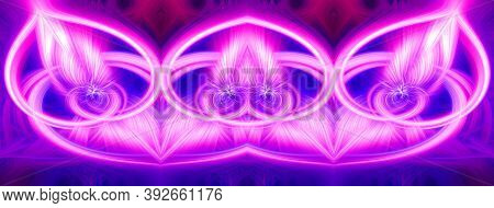 Beautiful Abstract Intertwined Glowing 3d Fibers Forming A Shape Of Sparkle, Flame, Flower, Interlin