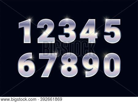 Silver Shiny Numbers Set, Metal Chrome Font Signs Isolated On Black Background. Luxury Fashion White