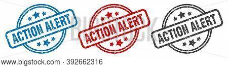 Action Alert Stamp. Action Alert Round Isolated Sign. Action Alert Label Set