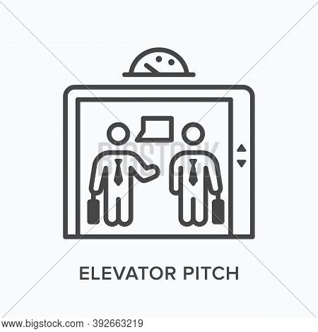 Elevator Pitch Flat Line Icon. Vector Outline Illustration Of Business Talking In Lift. Marketing Co