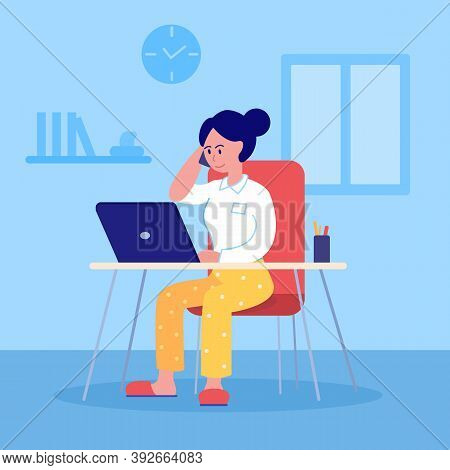 Remote Workplace. Home Office. Business Woman In Pajama Pants And Corporate Blouse Talking On Phone