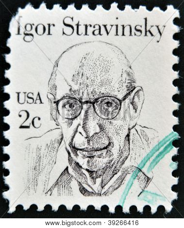 UNITED STATES OF AMERICA - CIRCA 1980: stamp printed in USA shows Igor Stravinsky circa 1980