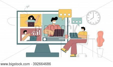 Masked People Online Teamwork, Videoconference, Telecommuting. Vector Illustration Isolated On White