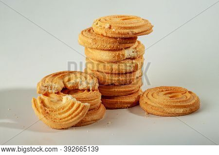 Delicious And Mouth-watering Butter Cookies On A Gray Background