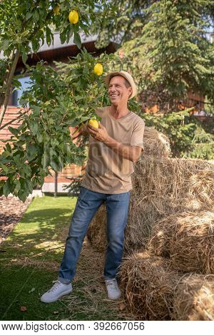Smiling Man In Straw Hat Juggling Lemons Outside