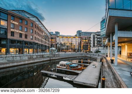 Oslo, Norway - June 23, 2019: Residential Multi-storey Houses In Aker Brygge District In Summer Even