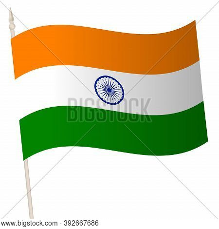 Vector Waving Flag On A Flagpole. The National Flag Of India.