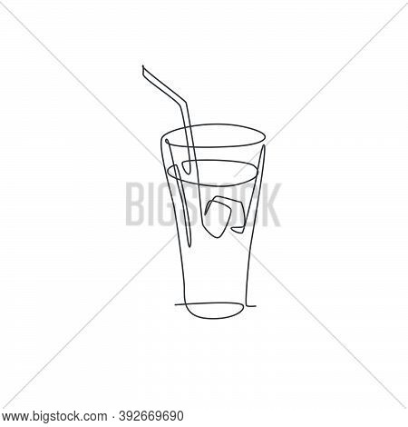 One Continuous Line Drawing Of Fresh Sweet Soft Drink On Glass With Ice Cube Logo Emblem. Drinking C