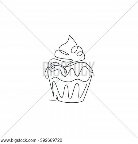 One Single Line Drawing Of Fresh Sweet Muffin Cake Online Shop Logo Vector Illustration. Delicious P