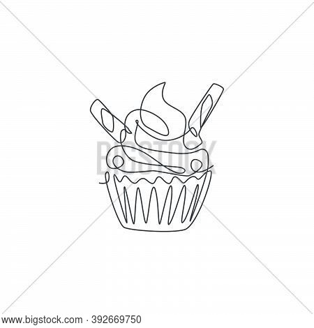 One Continuous Line Drawing Fresh Sweet Delicious American Muffin With Wafer Stick Logo Emblem. Cook