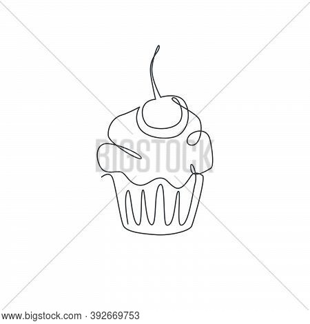One Single Line Drawing Of Fresh Muffin With Cherry Cake Online Shop Logo Vector Illustration. Sweet