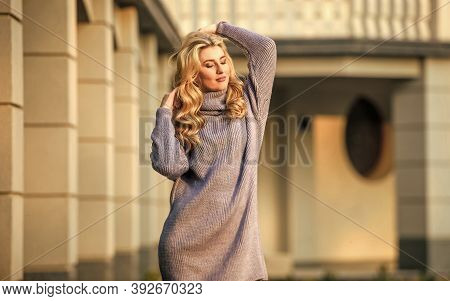 Beautiful Day. Warm Oversized Clothes. Sexy Woman Sunny Weather Outdoor. Free Style Comfortable. Aut