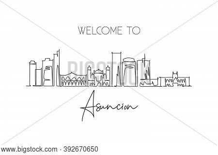 One Continuous Line Drawing Asunción City Skyline, Paraguay. Beautiful Landmark Postcard. World Land