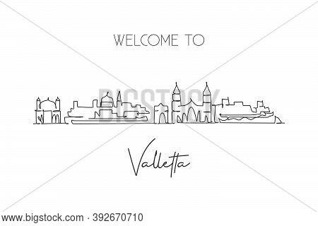 One Continuous Line Drawing Of Valletta City Skyline, Malta. Beautiful Landmark Postcard. World Land