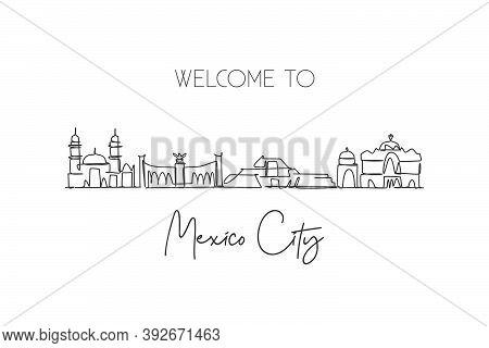 Single Continuous Line Drawing Mexico Skyline, Mexico. Famous City Scraper Landscape. World Travel D