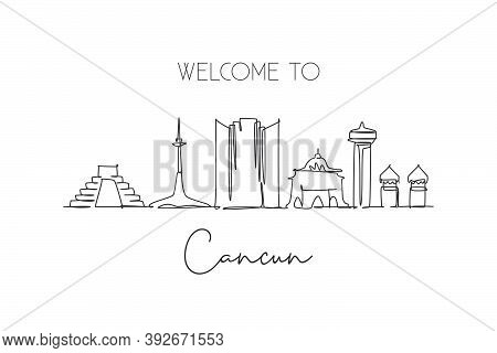 One Continuous Line Drawing Cancun City Skyline, Mexico. Beautiful Landmark Postcard. World Landscap