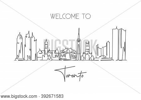 One Continuous Line Drawing Of Toronto City Skyline, Canada. Beautiful Landmark Postcard. World Land