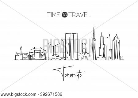 One Single Line Drawing Of Toronto City Skyline, Canada. World Historical Town Landscape. Best Holid