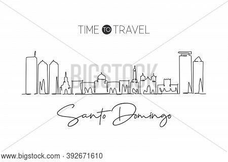 Single Continuous Line Drawing Of Santo Domingo City Skyline Dominican. Famous City Scraper Landscap