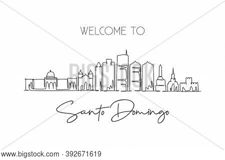 One Single Line Drawing Of Santo Domingo City Skyline Dominican. World Historical Town Landscape Pos