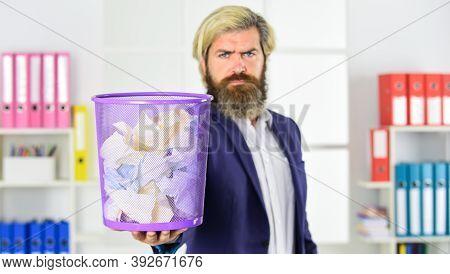 Man Read Piece Of Paper. Office Worker Digging In Garbage Bin. Businessman Hold Trashcan. Man In Off