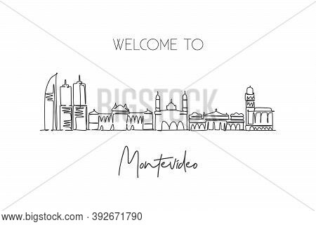 One Single Line Drawing Of Montevideo City Skyline, Uruguay. World Historical Town Landscape. Best H