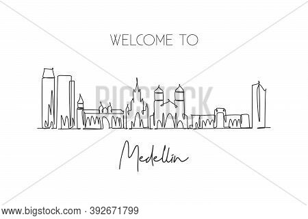 One Single Line Drawing Of Medellin City Skyline, Colombia. World Historical Town Landscape. Best Ho