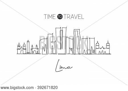 One Continuous Line Drawing Of Lima City Skyline, Peru. Beautiful Landmark Postcard. World Landscape