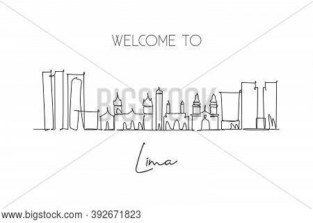 Single Continuous Line Drawing Of Lima City Skyline, Peru. Famous City Scraper Landscape. World Trav